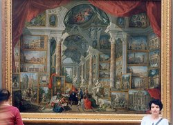 A painting in the Louvre:  by  (). Three metres (ten feet) long, this is a painting of other paintings