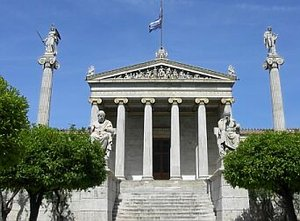 The National Academy in Athens, with Apollo and Athena on their columns, and Socrates and Plato seated in front.