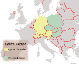The Alpine Countries and the Visegr�d Group (Political map, 2004)