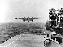 A B-25 takes off from the USS Hornet on .