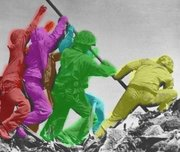 ( / �)A photo colorized to show all six men - Ira Hayes (red),  (violet),  (green),  (yellow),  (brown),  (teal)