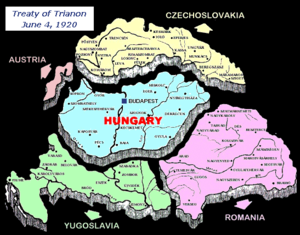 Difference between borders of Hungary before 1918 and after the Treaty of Trianon in 1920