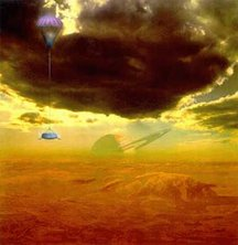 An artist's impression of the Huygens probe as it descends through Titan's atmosphere. Titan's sky may well be darker and smoggier than this painting suggests and Saturn never actually rises above the horizon at the probe's landing site.