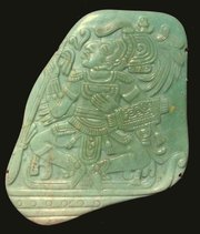 "Mayan jadeite ""pectoral"", 195mm high"