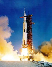 The  carrying Apollo 11 took several seconds to clear the tower on , .