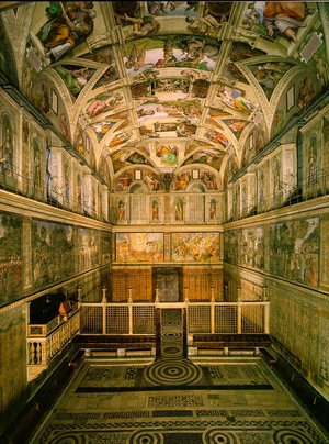 The  is the location of the conclave. It was richly decorated by the famous  artist .