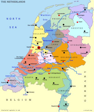 Map of The Netherlands, with red dots marking the capitals of the provinces and black dots marking other notable cities.