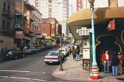 An interesection of Chinatown in San Francisco.