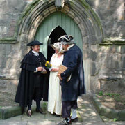 "Re-enactment of Samuel Johnson's wedding to Elizabeth Porter (""Tetty"") at  in . The event is re-enacted at the church every year."