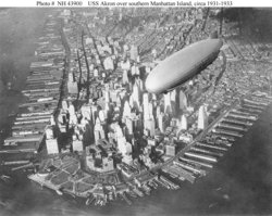 The USS Akron over  circa 1932