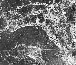 Aerial view of opposing trench lines. German trenches at the top, British at the bottom