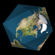 Dymaxion map folded into an