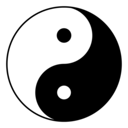 "The  or  diagram, often used as a symbol in Taoism. It represents two polar  of nature and their relationship. The black spot in the white symbolises a black ""seed"" that will regenerate white and transmute it into black, and the reverse, indicating the constancy of change in the ."