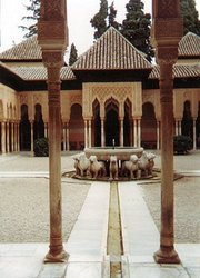 The famous Court of the Lions inside the  palace of , in , one of the finest examples of the high art and culture achieved by the Islamic civilization in Spain.