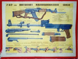A diagram showing the design of AKM. Includes instructions for disassembly of the gun for maintenance
