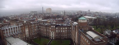 Panorama of Belfast on a dreary day, as seen from a tower block of Queen's University.