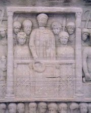 Theodosius offers a laurel wreath to the victor, on the base of the obelisk in the Hippodrome (Istanbul)