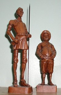 Statues of Don Quixote (left) and Sancho Panza (right)