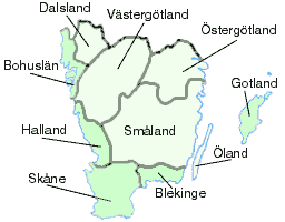 Götaland with acquisitions of 1658 in darker green: Terra Scania from Denmark and Bohuslän from Norway (then under Danish rule).