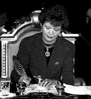 President 6th President of Ireland. The first woman president. Image shows her on the former  signing her declaration of office.