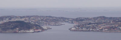 Kristiansund. Clockwise from lower left: Innlandet, Kirk(e)landet, Gomalandet, and Nordlandet.