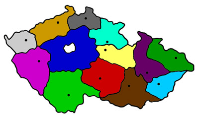 Map of the Czech Republic with colored regions