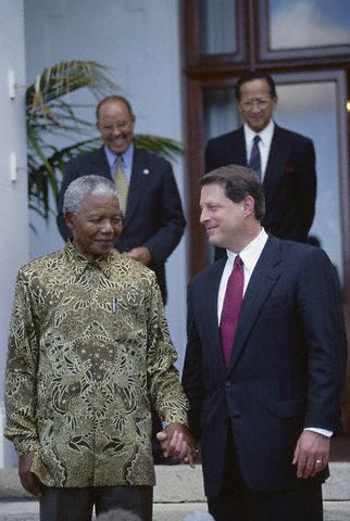 Former United States Vice President  meets with Mandela.