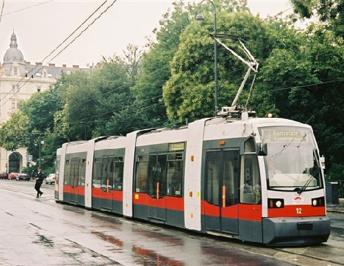 An ultra low floor tram (ULF) in ,  (July )