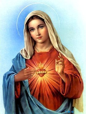 Blessed Virgin MaryA traditional Catholic picture sometimes displayed in homes. It may be displayed as part of a set. For accompanying image, see the .