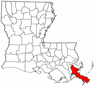 Image:Map of Louisiana highlighting Plaquemines Parish.png