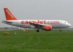 easyJet Airbus A319 waiting for take-off clearance