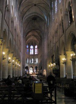 The interior of Notre Dame cathedral