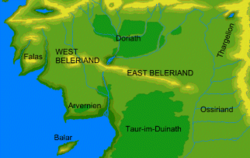 A map of Beleriand during the First Age, courtesy of the Encyclopedia of Arda (http://www.glyphweb.com/arda/).