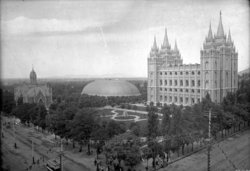 This photo of Temple Square, circa , shows that the plot housed the tallest buildings in  at the time, namely the ,  and .