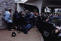 Chaos outside the Washington Hilton Hotel after the assassination attempt on President Reagan.