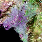 This false color  image of Athens shows varied land use.