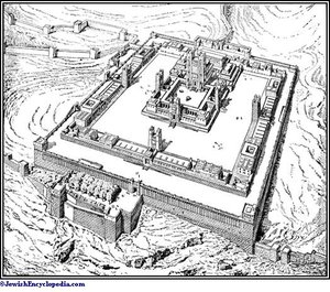 Drawing of Herod's Second Temple in Jerusalem
