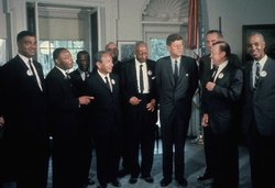 in the  with various civil rights activists including Martin Luther King (second from left).