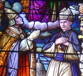 Pope Pius XI blesses Bishop Stephen Alencastre as fifth Apostolic Vicar of the Hawaiian Islands in a Cathedral of Our Lady of Peace window. In Catholicism, the pope is the bishop of the diocese of Rome. He creates the other dioceses throughout the world and chooses their bishops.
