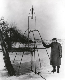 Robert Goddard and his first liquid-fueled rocket