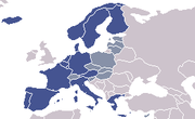 Blue: Schengen treaty membersGrey: Signatories (not yet implemented)