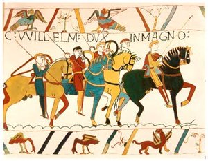 Scene from the Battle of Hastings as represented in the