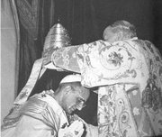 Pope Paul VI (1963-1978) is crowned at the last papal coronation, in 1963.