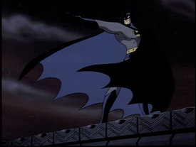 "The animated Batman shoots his grappling gun from a rooftop in a scene from the episode, ""On Leather Wings""."