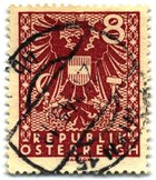 8pf stamp of the Soviet occupation, used in Vienna