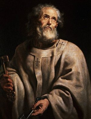 Saint Peter, portrayed by Peter Paul Rubens in a papal chasuble and pallium holding keys, was one of the twelve disciples  of Jesus.