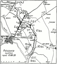 Positions around Warsaw, early morning on .