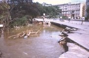 Destructions in the center of the city after 1997 flooding