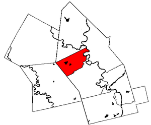 Map of  with Waterloo in red.