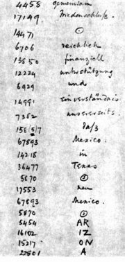 The telegram as decrypted by the  . The word  was not in the German codebook and was therefore split into smaller parts.